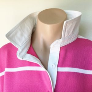 Thin pink & white stripe Rugby - SALE - Plain white trim **Limited Sizes