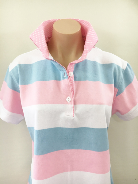 White/Pink/Sky Stripe Rugby - Matching Pink Spot Trim