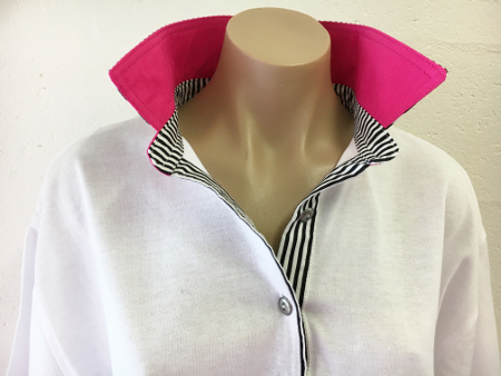 White rugby -Hot pink & Thin black stripe