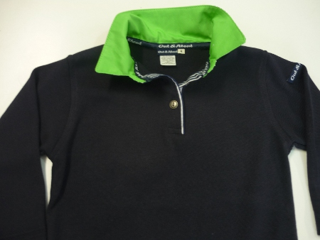 Kids navy rugby - lime top collar and navy stripe