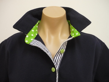 Navy rugby - navy top collar and lime green spot