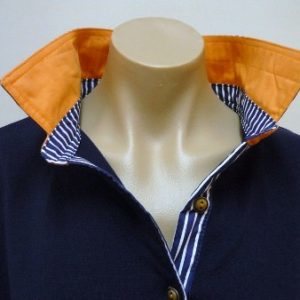 Navy Rugby - Orange collar and navy & white stripe trim