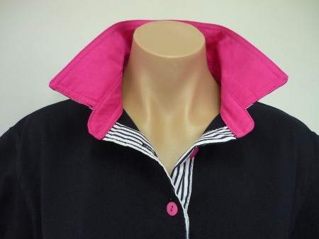Navy Rugby - Hot pink collar and navy stripe back collar and tab